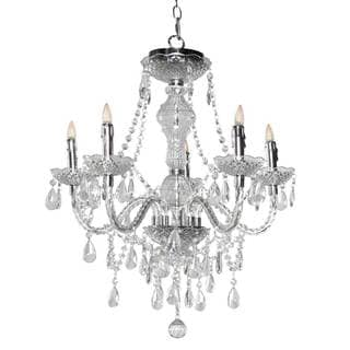 H Glam Jewel 25.5-inch 5-arm Cordless Chandelier With Remote Control and Adapter