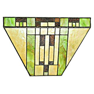 River of Goods Mission Stained-glass 8.5-inch High Tiffany-style LED Cordless Wall Sconce with Remote Control