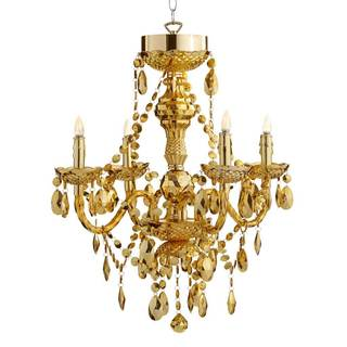River of Goods Luxury Golden Jewel Metal and Acrylic 25.5-inch 5-arm Cordless Chandelier with Remote Control and Adapter