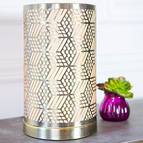River of Goods Goldtone Metal and Fabric 11-inch Dimensional Laser-cut Geometric Uplight Accent Lamp