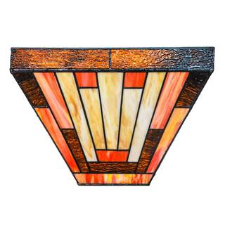 8.5-inch Tiffany-style Stained Glass Mission Sunset LED Cordless Wall Sconce with Remote Control and Adapter