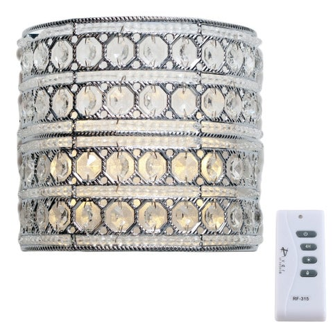 Silver Orchid March Crystal Glam Cordless Remote-controlled 8-inch LED Wall Sconce