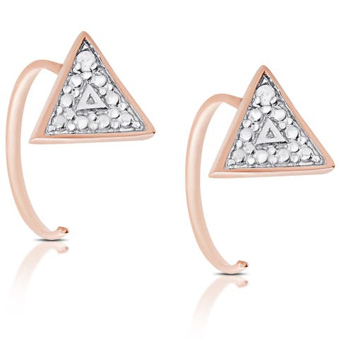Finesque Rose Gold Over Silver or Sterling Silver Diamond Accent Triangle Earrings