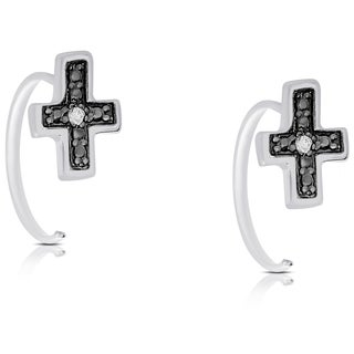 Finesque Rose Gold Over Silver or Sterling Silver Diamond Accent Cross Earrings (I-J, I2-I3)