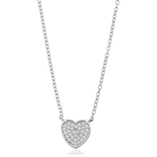 Fremada Sterling Silver With Cubic Zirconia Heart Adjustable Length Cable Chain Necklace