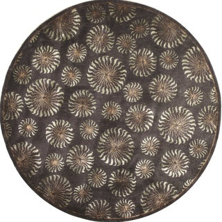 Hand-tufted Mirage Chocolate Wool Round Rug (8' x 8')