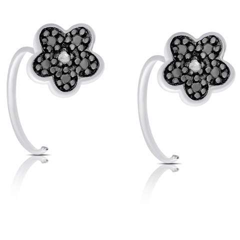 Finesque Rose Gold Over Silver or Sterling Silver Diamond Accent Flower Earrings
