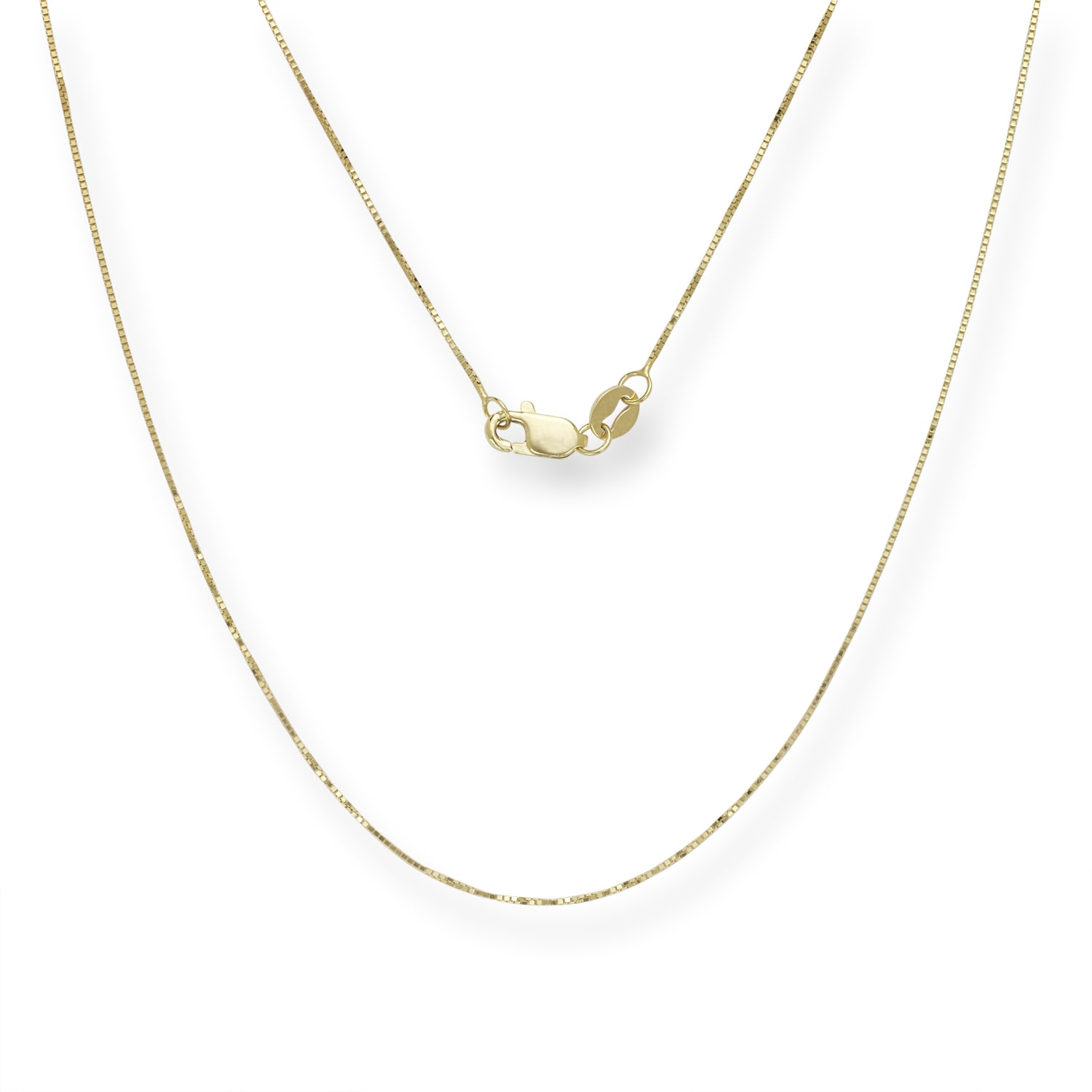 """10K 18/"""" Inches .5mm Solid White Gold Classic Box Pendant Chain Necklace"""