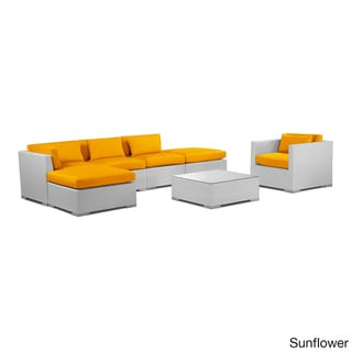 Kardiel Modify-It Lanai Outdoor Patio White Wicker 7-piece Sofa Sectional Set
