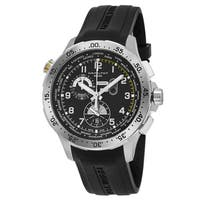 Hamilton Men's H76714335 'Khaki Aviation' Black Dial Black Rubber Strap Worlditmer Chronograph Swiss Quartz Watch