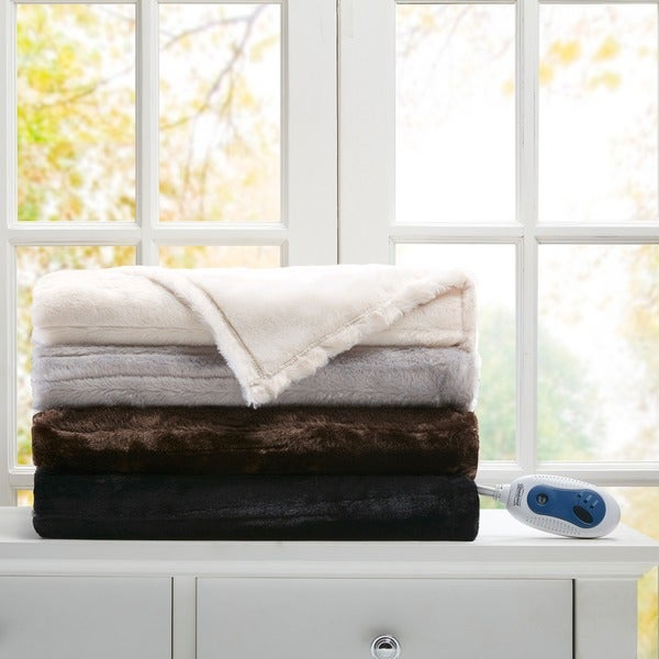 Beautyrest Heated Duke Solid Faux Fur Heated Throw 4-Color Option