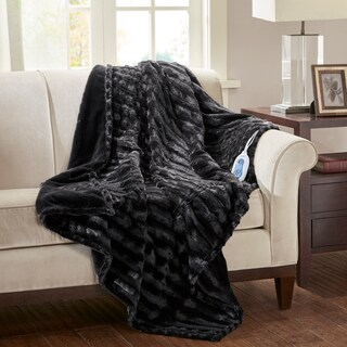 """Beautyrest Heated Duke Solid Faux Fur Heated Throw 4-Color Option - 50""""x70"""""""