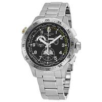 Hamilton Men's  'Khaki Aviation' Black Dial Stainless Steel Worlditmer Chronograph Swiss Quartz Watch