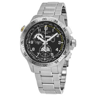 Hamilton Men's H76714135 'Khaki Aviation' Black Dial Stainless Steel Worlditmer Chronograph Swiss Quartz Watch