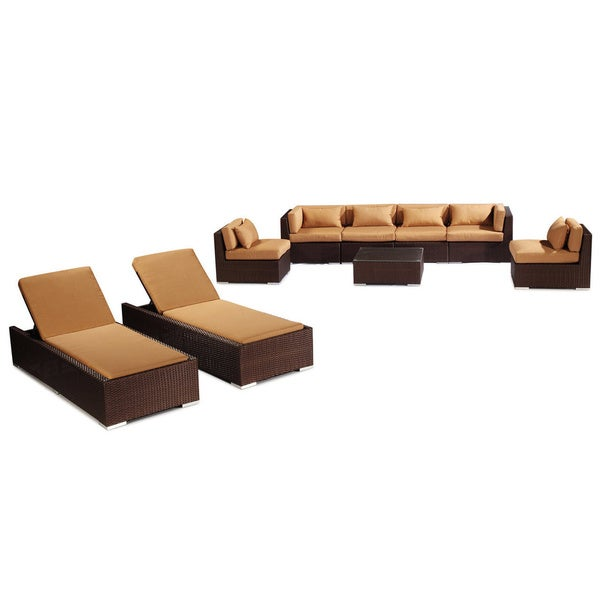 Modify It Maui Espresso Wicker Outdoor Patio Furniture 9 Piece Sofa Chaise  Lounge Set