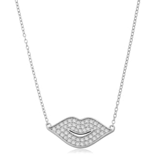 Fremada Sterling Silver With Cubic Zirconia Double Ring Pendant On Adjustable Length Cable Chain Necklace