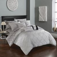 Chic Home 10-Piece Darlene Grey BIB Comforter Set