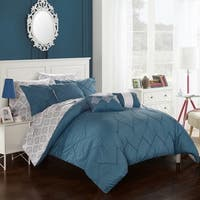 Chic Home 10-Piece Darlene Blue BIB Comforter Set