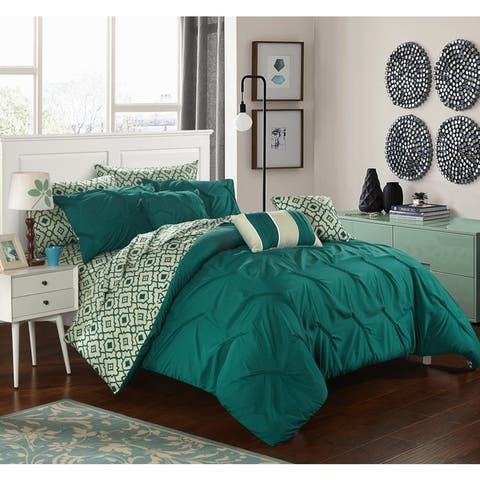 Chic Home 10-Piece Fedel Dark Green BIB Comforter Set