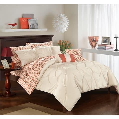 Chic Home 10-Piece Fedel Beige BIB Comforter Set