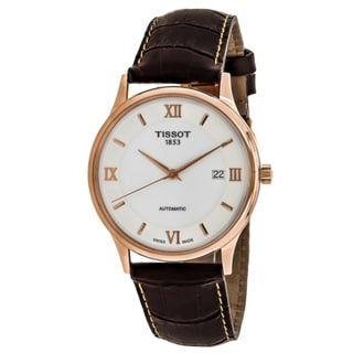 Tissot Men's T9144077601800 'Dream' 18kt Rose Gold Automatic Brown Leather Watch