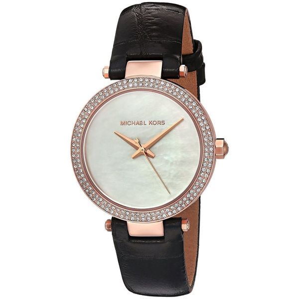 f31f46930713 Shop Michael Kors Women s  Mini Parker  Crystal Black Leather Watch - Free  Shipping Today - Overstock - 12751406