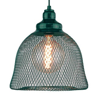 Free-collocational mesh enclosure pendent light in turquoise (Bonus LED bulb is included until 10/31/2016)