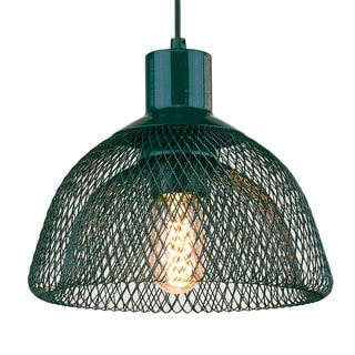 Free-collocational double mesh enclosure pendent light in turquoise (Bonus LED bulb is included until 10/31/2016)