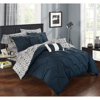Chic Home 10-Piece Fedel Navy BIB Comforter Set