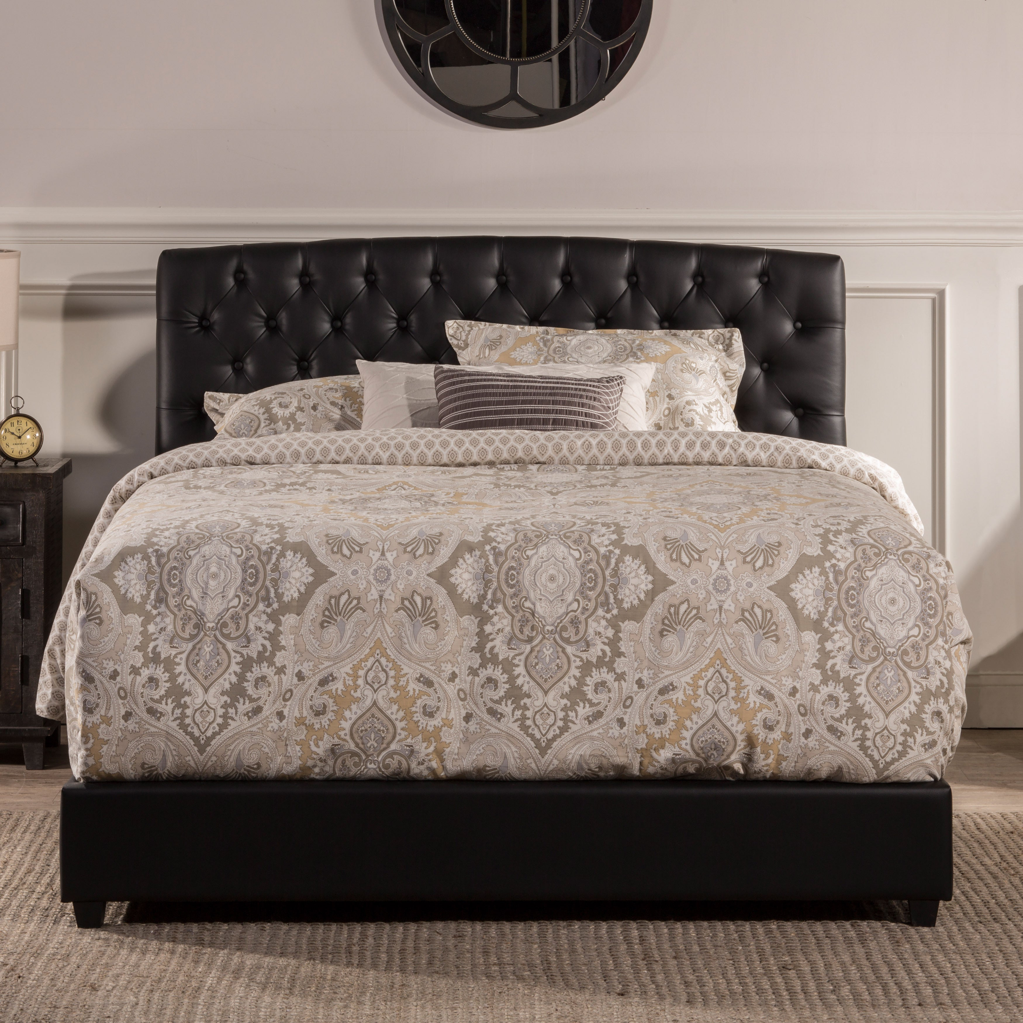 Hillsdale Hawthorne Tufted Black Faux Leather Upholstered...