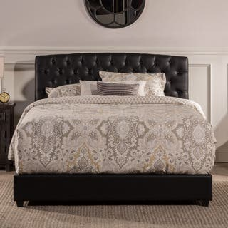 Hilale Hawthorne Tufted Black Faux Leather Upholstered Bed