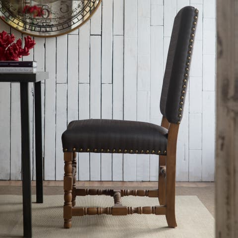 Porch & Den Lavina Black Polyester and Wood Accent Chair