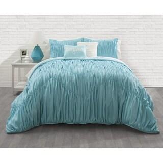 Seventeen Aqua Ruched 3-piece Comforter Set