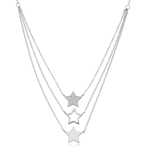 Fremada Sterling Silver with Cubic Zirconia Adjustable Length Three Stars Layered Choker Necklace