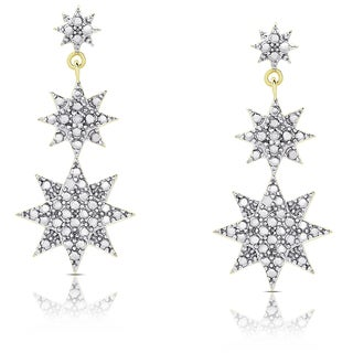 Finesque Gold Over Silver or Sterling Silver Diamond Accent Graduated Star Dangle Earrings