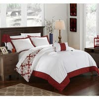 Chic Home 8-Piece Maribeth Marsala BIB Duvet Set