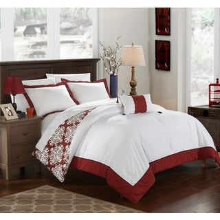 Chic Home 8-Piece Maribeth Marsala BIB Duvet Set (2 options available)