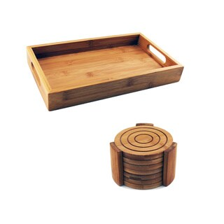 Brown Bamboo 8-piece Coaster Set with Tray