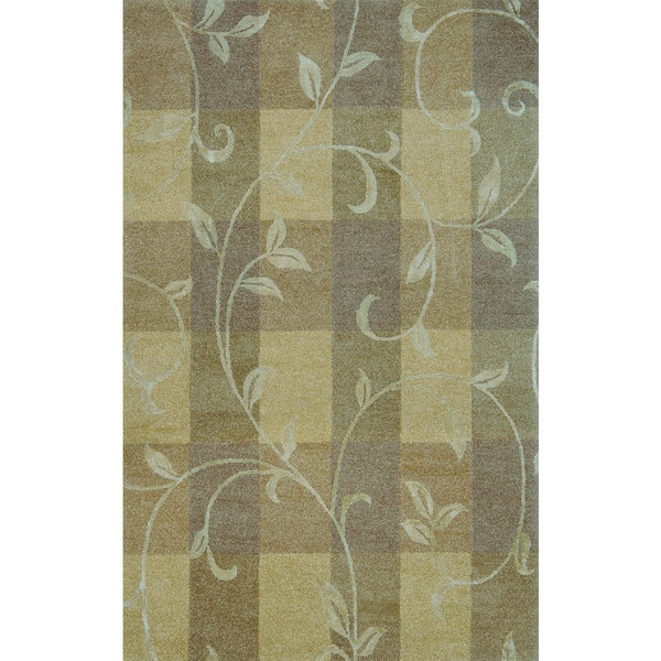 Hand-tufted Lotus Neutral Wool Rug (3'6 x 5'6)