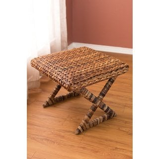 BirdRock Home Seagrass Brown Rattan Accent X-Stool