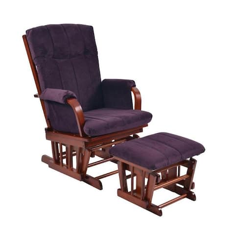 Artiva USA Home Deluxe Purple Microfiber Cherry Wood Glider and Ottoman set