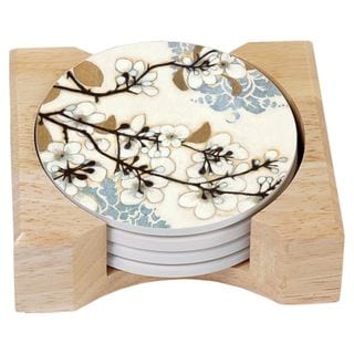 Counterart Absorbent Stone Coasters in Wooden Holder, Dogwood Branch, Set of 4