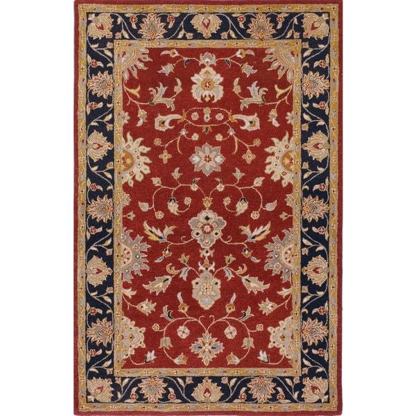 Shop Hand-tufted Noble Burgundy Wool Rug (5' X 8')