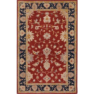Hand-tufted Noble Burgundy Wool Rug (5' x 8')