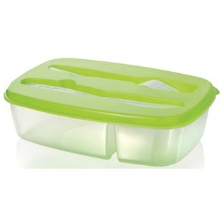 BPA-free Polypropylene Stackable 2-compartment Lunch Box and Utensil Set