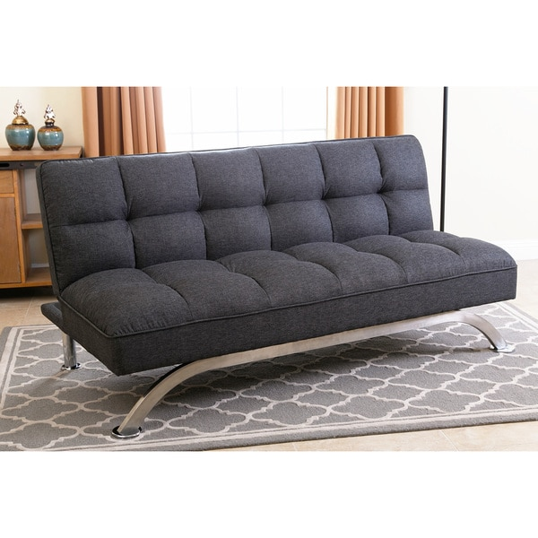 Abbyson Bella Grey Linen Tufted Futon Sofa Bed