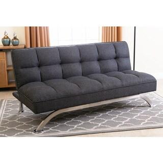 Abbyson Bella Grey Linen Tufted Futon Sofa Bed