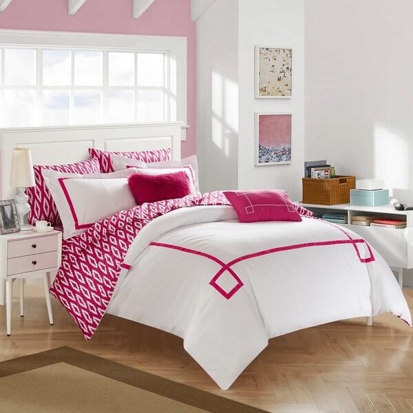 Chic Home 9-Piece Edrea Fuchsia BIB Comforter Set