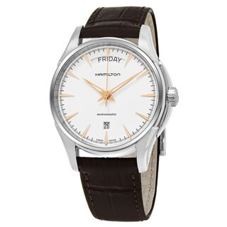 Hamilton Men's H32505511 'Jazzmaster' White Dial Brown Leather Strap Day Date Swiss Automatic Watch