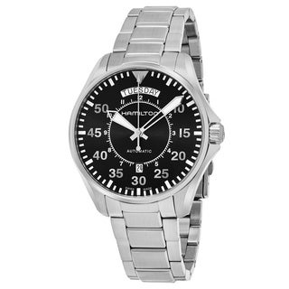 Hamilton Men's H64615135 'Khaki Aviation' Black Dial Stainless Steel Pilot Day Date Swiss Automatic Watch